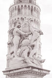 Fountain with Angels - Fontana dei Putti and Leaning Tower of Pi Royalty Free Stock Photo