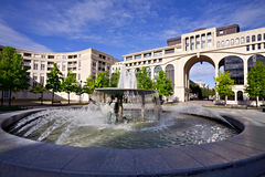 Fountain in Antigone of Montpellier, France Stock Photography