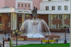 Fountain of the Archangel Gabriel. BELGOROD, RUSSIA - SEPTEMBER 10, 2016: Belgorod State University. Fountain of the Archangel Gabriel. International University Royalty Free Stock Photo