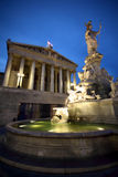The fountain of Athena and the Austrian Parliament Royalty Free Stock Images