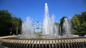 Fountain at the Atomium monument in Brussels stock video footage