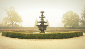 Fountain. Autumn morning fountain in Lednice stock photography