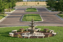 Fountain Avenue. Two lane street with center islands and fountain as a water feature Royalty Free Stock Image