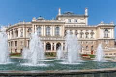 Fountain on a background of the beautiful Opera House Odessa, Ukraine Stock Photography