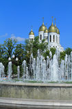 Fountain in the background Cathedral of Christ the Savior in Kaliningrad Stock Image
