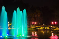 Fountain with backlight on the pond Stock Image