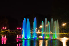 Fountain with backlight on pond in park Royalty Free Stock Images
