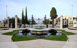 Fountain in Bahai Gardens in Haifa, Israel Royalty Free Stock Photo