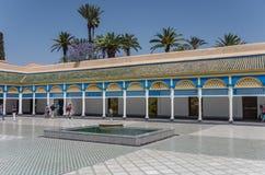 Fountain in Bahia palace courtyard. Marrakech, Morocco. Marrakesh, Morocco - May 3, 2017:  Fountain in Bahia palace courtyard. Marrakech, Morocco Stock Photos