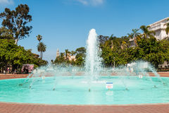 Fountain in Balboa Park with Natural History Museum Stock Image