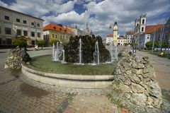 Fountain at Banska Bystrica. Fountain at Namestie SNP square in Banska Bystrica, Slovakia Stock Image