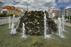 Fountain at Banska Bystrica. Fountain at Namestie SNP square Banska Bystrica, Slovakia Royalty Free Stock Images