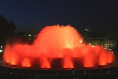 Fountain in Barcelona.Spain. The famous Montjuic Fountain in Barcelona.Spain stock photo