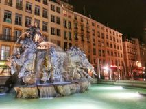 The fountain of bartodi in the lyon old town, vieux Lyon, France Royalty Free Stock Images