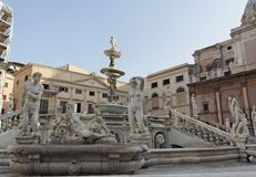 Fountain and Bath Tub Piazza Pretoria Royalty Free Stock Photography
