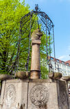 The fountain with the bear and the medieval coats of arms in the Stock Images