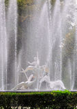 Fountain. Beautiful fountain, decorated with a sculpture - a boy and a swans in Lvov, Ukraine Stock Photo