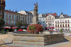 Fountain on beautiful market square in Cieszyn, Poland Stock Images