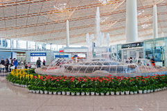 Fountain in Beijing Capital International Airport Stock Photos