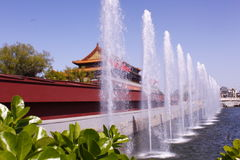 Fountain of the Beijing Tiananmen. Fountain  side of the Beijing Tiananmen gate tower Stock Image