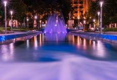 Fountain, Belgrade Serbia. Beautiful multicolored fountain at Nikola Pasic Square in Belgrade, long exposure Royalty Free Stock Photos