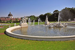 Fountain of Belvedere Palace in Vienna Stock Photo