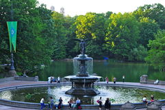 Fountain at Bethesda Terrace in the Central Park, New York City, USA. Royalty Free Stock Photos