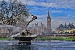 Fountain before Big Ben Stock Image