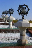 Fountain with black-white lampposts. Ashkhabad. Turkmenistan Stock Photo