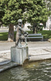 Fountain with boy statue in Maribor, Slovenia Stock Images
