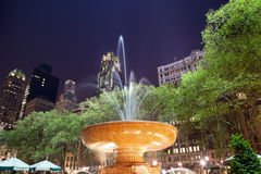 Fountain Bryant Park New York City Night Royalty Free Stock Image