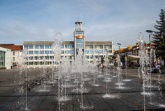 Fountain with buildings behind Royalty Free Stock Photo