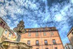 Fountain and buildings in hdr Stock Photos