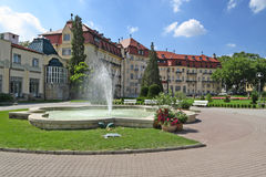 Fountain and buildings in piestany spa. Famou wiev on Piestany spa with nice fountain, park and hotels stock photography