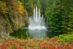 Fountain in Butchart botanical garden in Victoria, Canada. Fountain in famous Butchart botanical garden in town of Victoria in Vancouver Island, Canada stock image