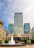 Fountain on Cabot Square in Canary Wharf business district. London Stock Image