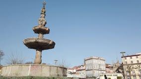 Fountain at Campo das Hortas in Braga. BRAGA, PORTUGAL - CIRCA FEBRUARY 2019: ountain at Campo das Hortas. Braga urban cityscape, one of the oldest cities of stock video footage