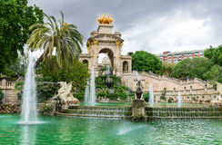 Fountain, cascade in park De la Ciutadella in Barcelona Royalty Free Stock Photos