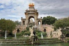 Fountain and cascade in park De la Ciutadella in Barcelona Royalty Free Stock Photos