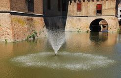 Fountain in Castello Estense Moat Stock Images
