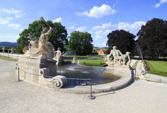 Fountain in castle garden of Cesky Krumlov. Stock Image