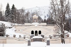 The fountain of castle Linderhof at winter. The fountain of Bavarian castle Linderhof at snowy winter Stock Images