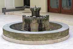 Fountain castle. Round fountain in castle fortification shape Royalty Free Stock Images