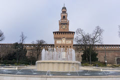 Fountain in Castle Sforzesco Stock Images