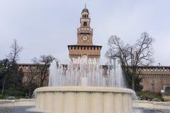 Fountain in Castle Sforzesco Stock Photo