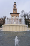 Fountain in Castle Sforzesco Royalty Free Stock Images