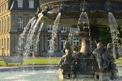 Fountain and Castle, Stuttgart Royalty Free Stock Images