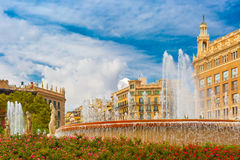 Fountain at Catalonia Square in Barcelona, Spain Royalty Free Stock Photos