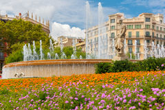 Fountain at Catalonia Square in Barcelona, Spain Royalty Free Stock Photo