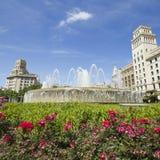 Fountain of Catalonia square Barcelona, Spain. Royalty Free Stock Photos